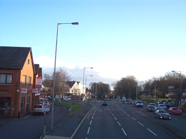 The A56 crosses the A6044 at Prestwich
