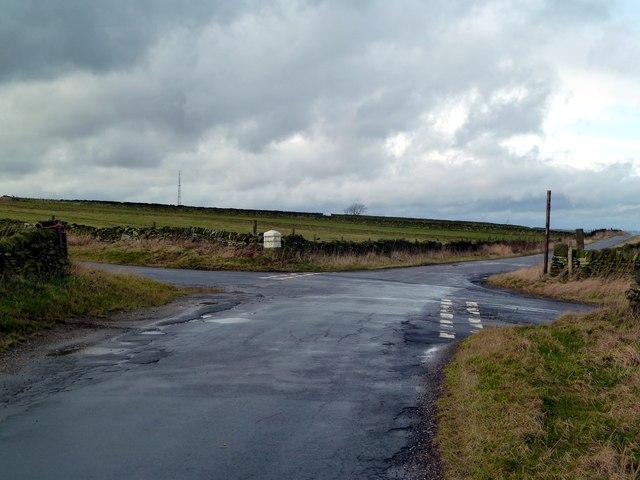 Road junction on Onesmoor