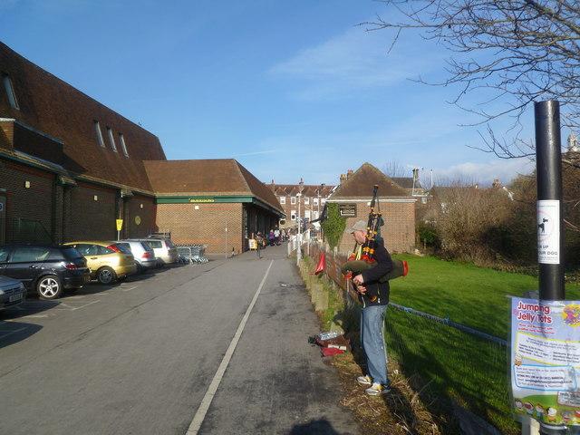 Blandford Forum, bagpiper