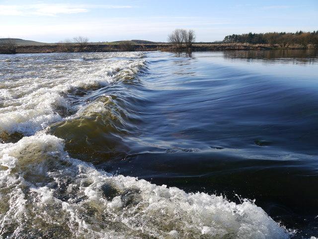 Weir In River Tweed Near Lees
