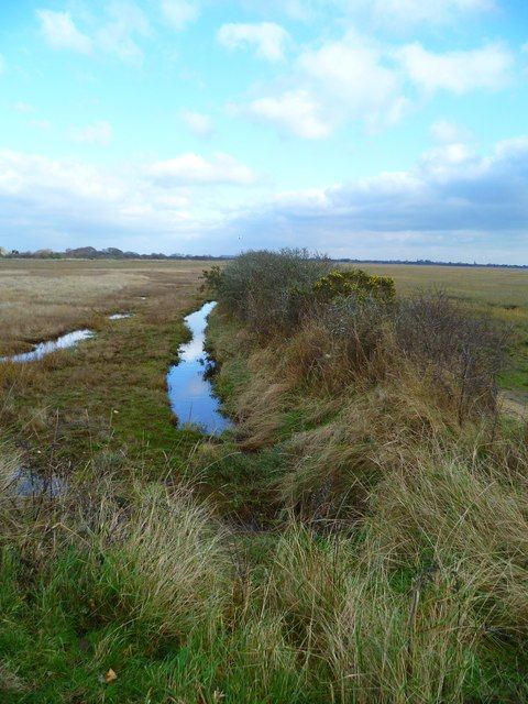 Channel by embankment on Pagham Harbour