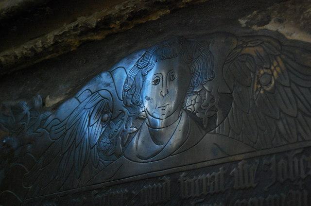 Brass detail on tomb of Sir John Fogge