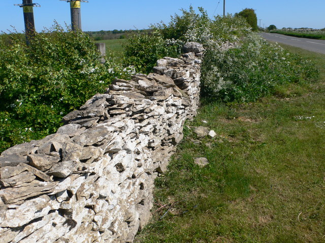 Drystone wall alongside the B4070