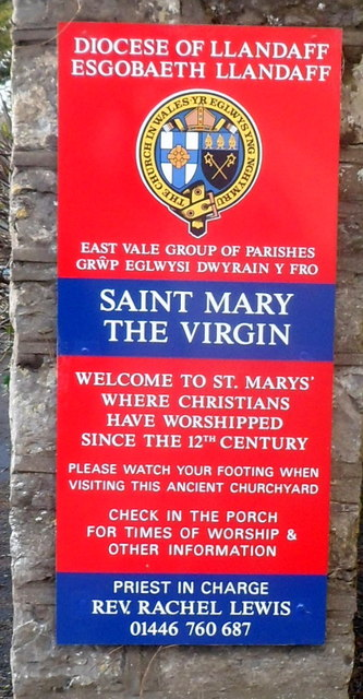 Nameboard, Church of St Mary the Virgin Bonvilston