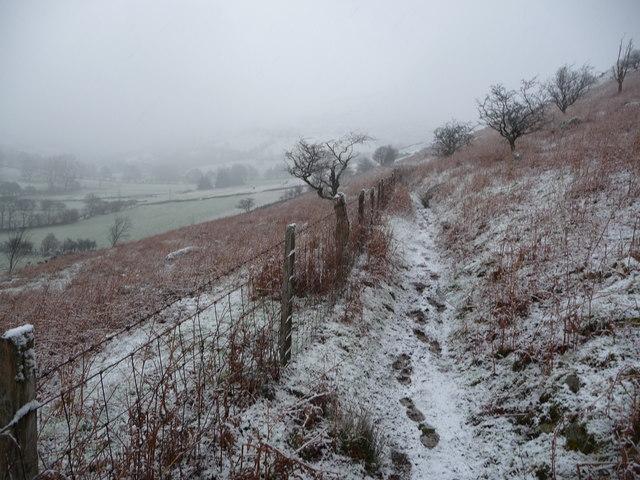 Footpath below Pistyll Rhaeadr in winter