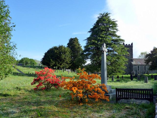 Troutbeck War Memorial with Church in Background, Cumbria