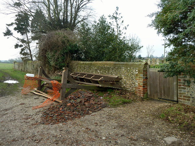 Shattered lych gate canopy, Binsted churchyard