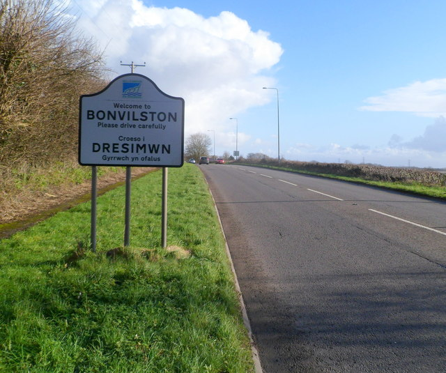 Western boundary of Bonvilston