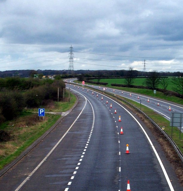Road Closed Ahead. The old A1 looking north from Fairburn Flyover