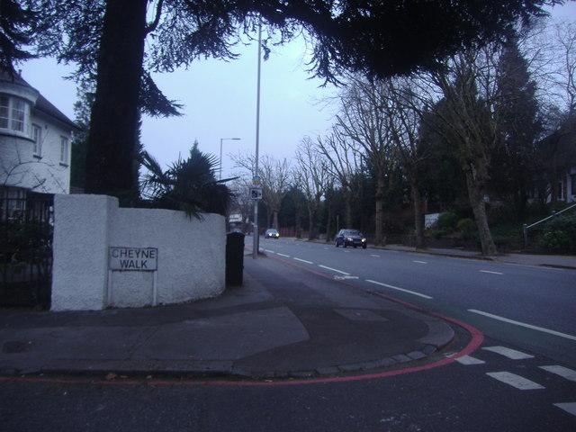 The corner of Cheyne Walk and Addiscombe Road
