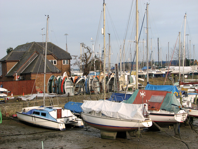 Boats moored in Belstead Creek, Ipswich