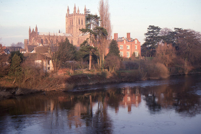 Hereford Cathedral, across the River Wye