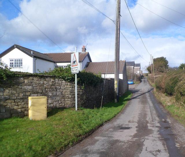 Minor road north to farms and Zoar church near Bonvilston