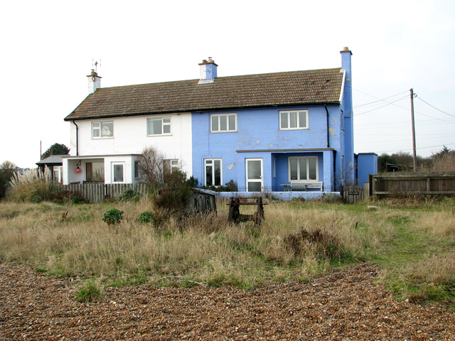 Blue and white cottages on Shingle Street