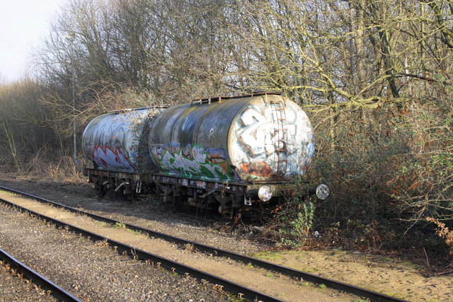 Stored tank wagons beside the Brentford Goods Branch