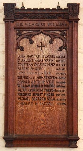 St Hilda with St Cyprian, Brockley Road, Crofton Park - Vicars board