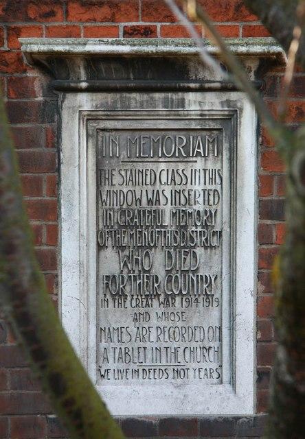 St Luke, Ryfold Road, Wimbledon Park - Memorial stone
