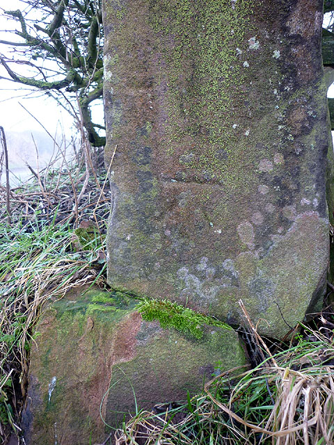 Bench mark on broken gatepost, Gamblesby to Melmerby road