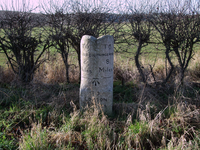 Milestone on the B4192 Swindon to Hungerford Road