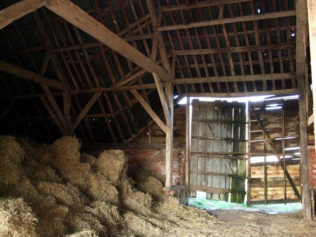 Timber roof inside New Barn, near Aldbourne