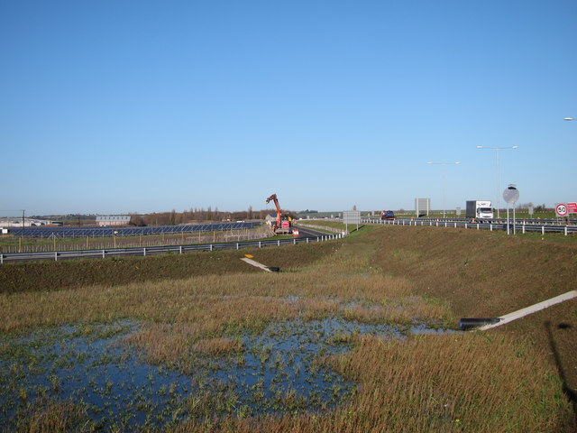 New Road and drainage pond