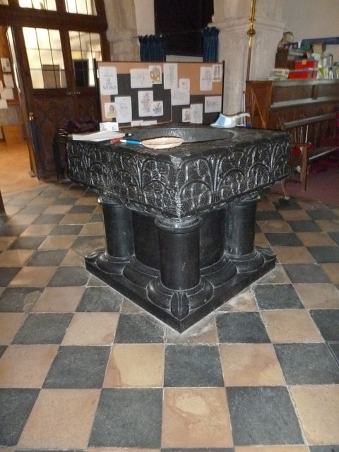 St Peter's at St Mary Bourne- magnificent font