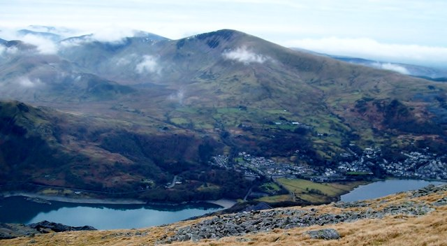 Llynnau Peris and Padarn and the village of Llanberis from the western slopes of Elidir Fach