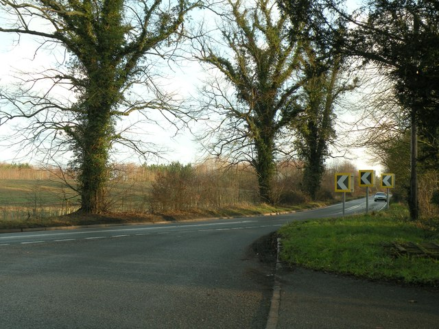 Part of the B1106 just south of Culford