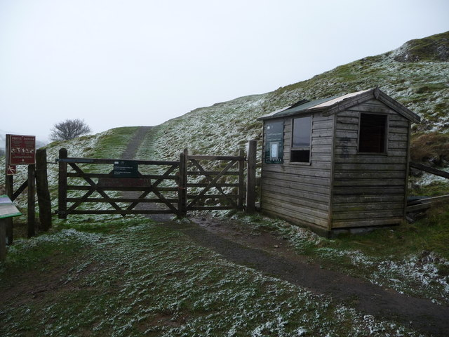 Ticket collector's hut at Carreg Cennen Castle in winter