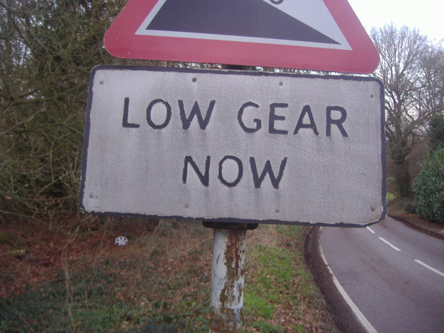 Pre-Worboys low gear sign, Henfold Lane