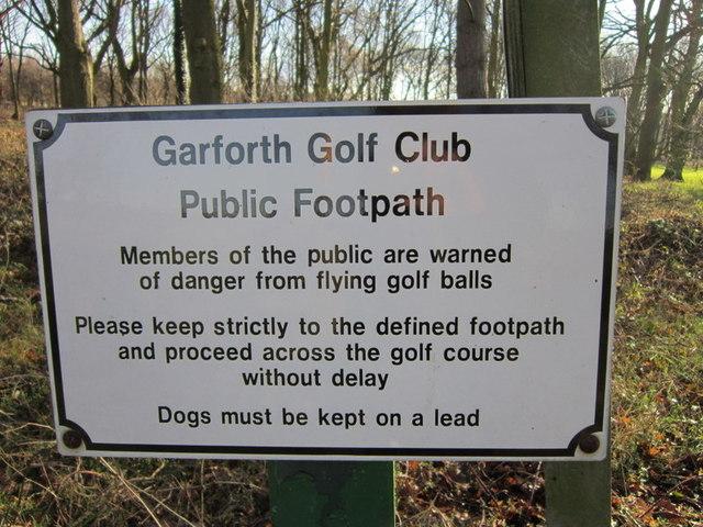 A notice at Garforth Golf Club