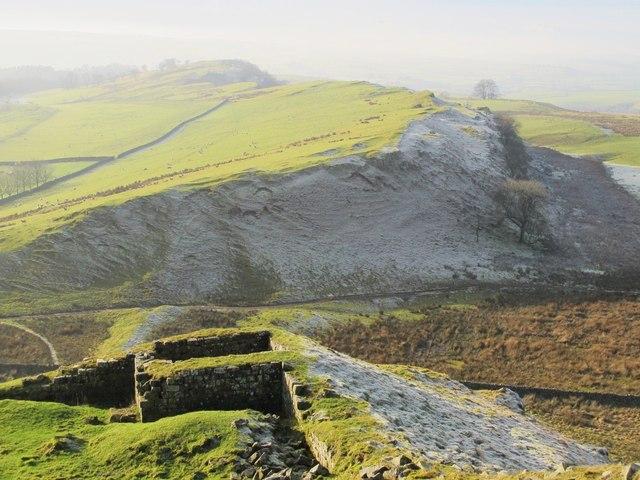 Turret 44b (Mucklebank) and Hadrian's Wall north of Walltown Farm