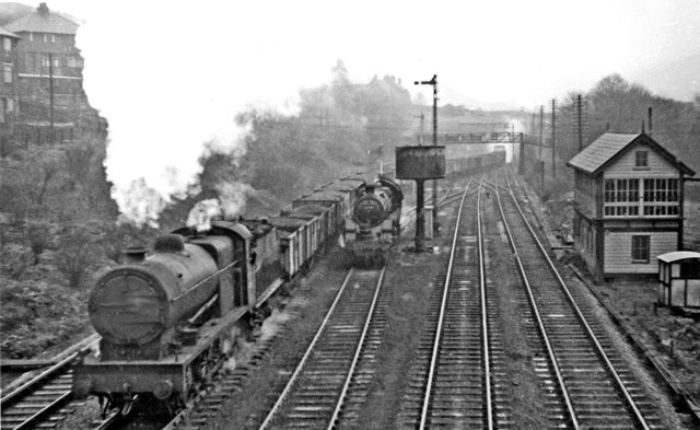 Westbound coal train at Hall Royd Junction, Todmorden