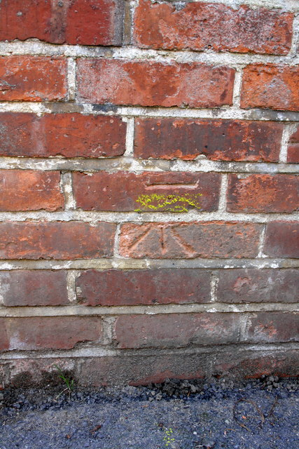 Benchmark on electricity substation wall, Dragon Lane