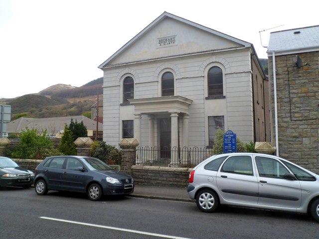 Front view of Grade II listed Bethany Baptist Church, Treherbert