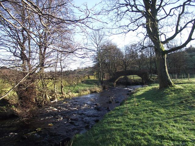 Pld pack horse bridge over the river Worth near Haworth