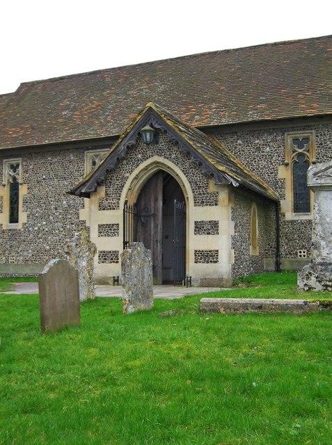 The Parish Church of St. John the Evangelist (3) - porch, Epsom Road, Merrow, Guildford