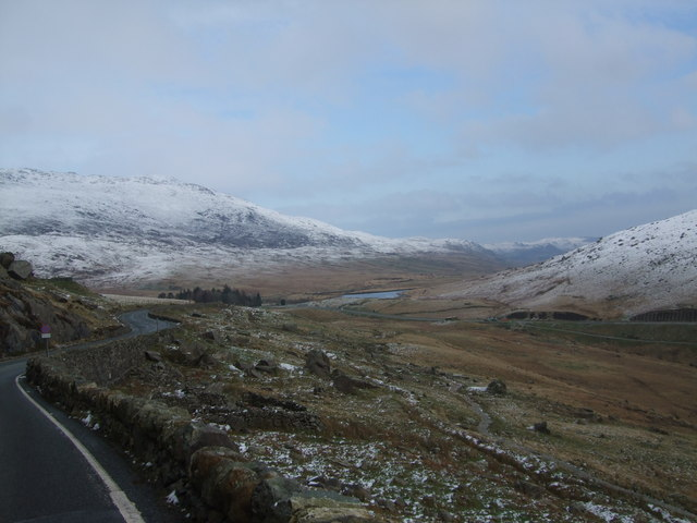 View from A4086 leading to Pen-y-Gwryd and junction of A498