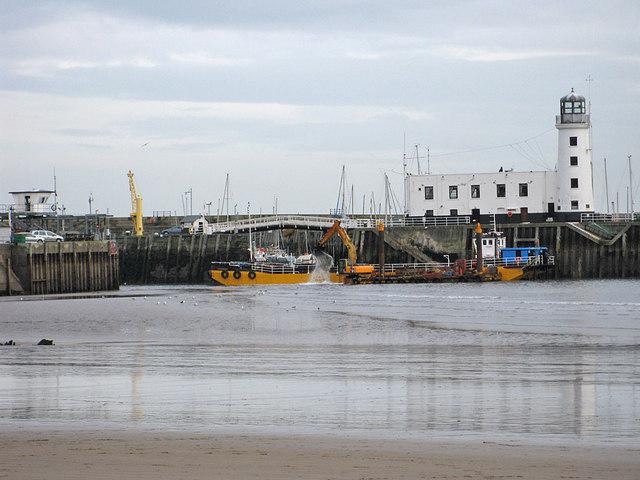 Dredging the harbour entrance, Scarborough