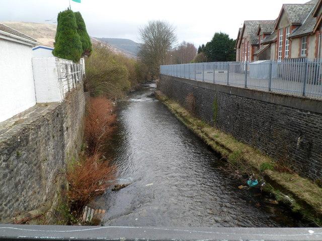 Rhondda Fawr river flows past Ynyswen Infants' School