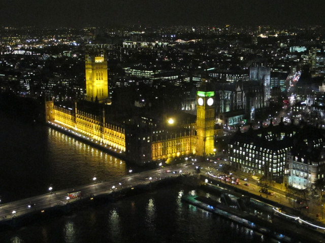 Houses of Parliament from the London Eye at night