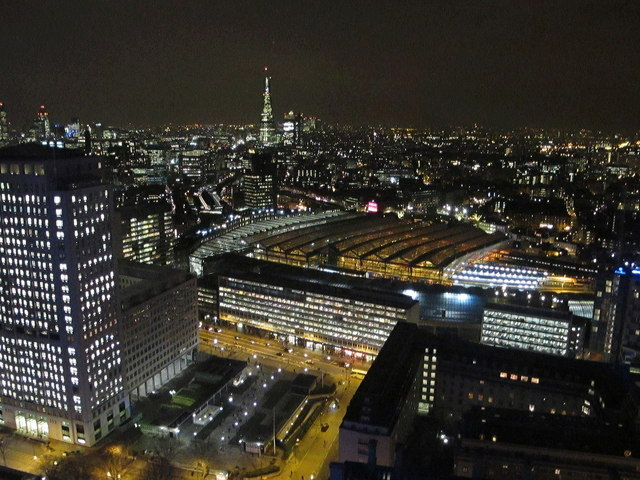 Waterloo Station and the Shell Centre from London Eye by night