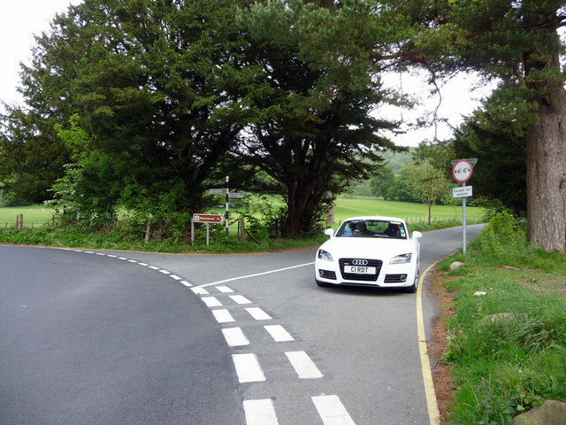 Road Junction at Head of  Coniston Water, Cumbria