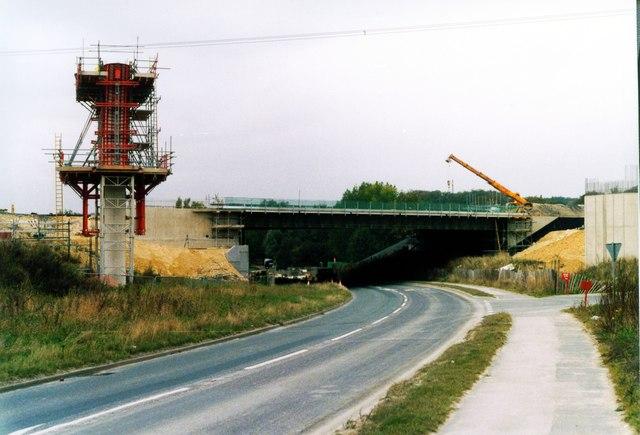 Motorway bridge crosses Stranglands Lane Ferrybridge Yorkshire.