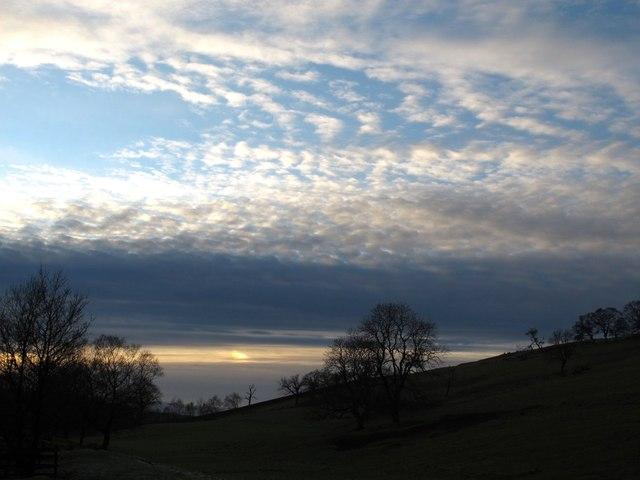 Last light over Hadrian's Wall west of Walltown