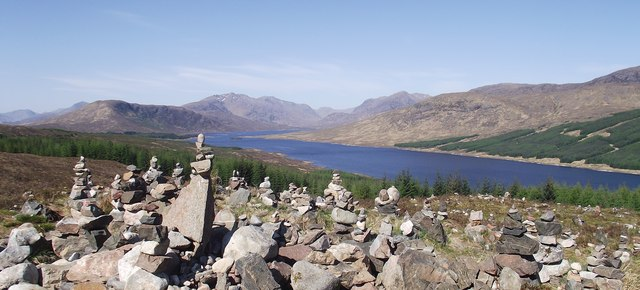Intricate cairn next to Loch Loyne