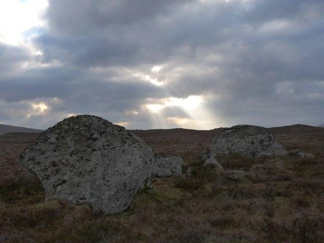 Moorland boulders near Lochan na Craoibhe