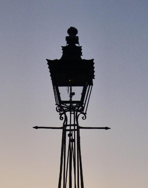 Gas lamp at Ham Gate, Richmond Park - detail