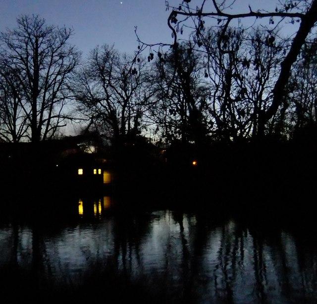 Nightfall at Ham Gate Pond, Richmond Park