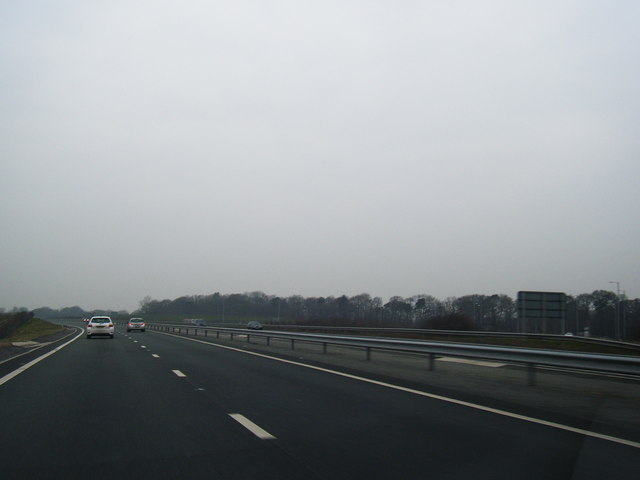 M56 westbound approaches its end